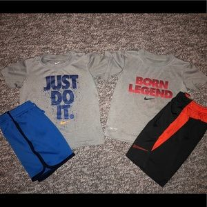 Boys Nike DRI FIT shorts and shirts